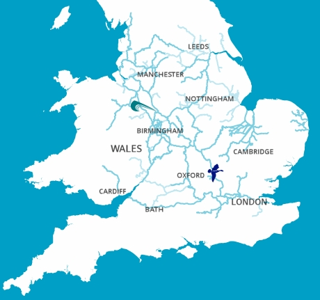 Canal and River Map of England and Wales